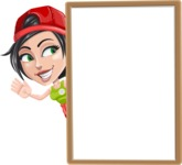 Technician Girl Cartoon Vector Character AKA Tessa the Expert Girl - With Whiteboard and Smiling