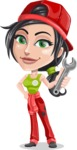 Technician Girl Cartoon Vector Character AKA Tessa the Expert Girl - With Wrench