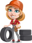 Pretty Mechanic Girl Cartoon Vector Character AKA Carlita - As Car Mechanic with Vehicle Tires