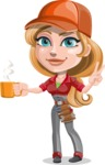 Pretty Mechanic Girl Cartoon Vector Character AKA Carlita - Drinking Cup of Coffee