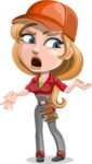 Pretty Mechanic Girl Cartoon Vector Character AKA Carlita - Feeling Confused