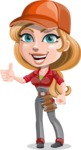 Pretty Mechanic Girl Cartoon Vector Character AKA Carlita - Giving Thumbs Up