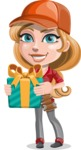 Pretty Mechanic Girl Cartoon Vector Character AKA Carlita - Holding a Gift