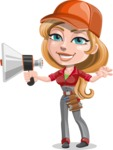 Pretty Mechanic Girl Cartoon Vector Character AKA Carlita - Holding a Loudspeaker