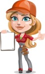 Pretty Mechanic Girl Cartoon Vector Character AKA Carlita - Holding Blank Notepad