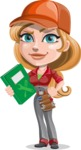 Pretty Mechanic Girl Cartoon Vector Character AKA Carlita - Holding Book