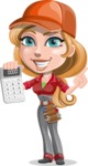 Pretty Mechanic Girl Cartoon Vector Character AKA Carlita - Holding Calculator