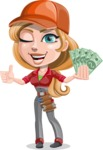 Pretty Mechanic Girl Cartoon Vector Character AKA Carlita - Holding Cash Money Banknotes