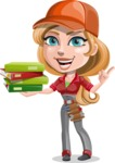 Pretty Mechanic Girl Cartoon Vector Character AKA Carlita - Holding Education Books