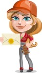 Pretty Mechanic Girl Cartoon Vector Character AKA Carlita - Holding Mail Envelope
