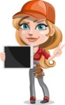 Pretty Mechanic Girl Cartoon Vector Character AKA Carlita - Holding Tablet with Blank Screen