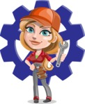 Pretty Mechanic Girl Cartoon Vector Character AKA Carlita - Illustration with Cog Wheel