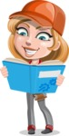 Pretty Mechanic Girl Cartoon Vector Character AKA Carlita - Learning From a Book
