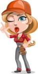 Pretty Mechanic Girl Cartoon Vector Character AKA Carlita - Making a Funny Face