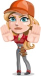 Pretty Mechanic Girl Cartoon Vector Character AKA Carlita - Making stop gesture