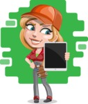 Pretty Mechanic Girl Cartoon Vector Character AKA Carlita - Modern Mechanic with Tech Illustration