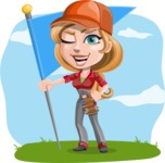 Pretty Mechanic Girl Cartoon Vector Character AKA Carlita - On a Landscape Background