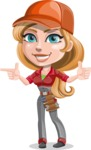 Pretty Mechanic Girl Cartoon Vector Character AKA Carlita - Pointing and Smiling