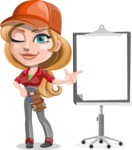 Pretty Mechanic Girl Cartoon Vector Character AKA Carlita - Pointing with a Pointer on Blank Presentation Board