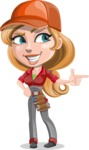 Pretty Mechanic Girl Cartoon Vector Character AKA Carlita - Pointing with Hands