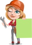 Pretty Mechanic Girl Cartoon Vector Character AKA Carlita - Presenting A Blank Sign