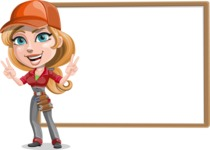 Pretty Mechanic Girl Cartoon Vector Character AKA Carlita - Presenting on Blank Whiteboard Template