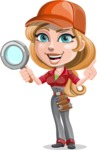Pretty Mechanic Girl Cartoon Vector Character AKA Carlita - Searching with Magnifier
