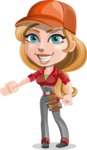 Pretty Mechanic Girl Cartoon Vector Character AKA Carlita - Showing with a Hand