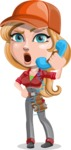 Pretty Mechanic Girl Cartoon Vector Character AKA Carlita - Talking on Phone as a Support