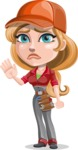 Pretty Mechanic Girl Cartoon Vector Character AKA Carlita - Waving for Goodbye with a Hand