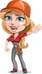 Pretty Mechanic Girl Cartoon Vector Character AKA Carlita - Waving for Hello with a Smiling Face