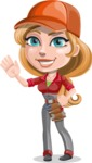 Pretty Mechanic Girl Cartoon Vector Character AKA Carlita - Waving with a Hand