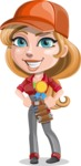 Pretty Mechanic Girl Cartoon Vector Character AKA Carlita - Winning a Prize for Best Mechanic