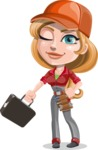 Pretty Mechanic Girl Cartoon Vector Character AKA Carlita - With a Briefcase