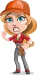 Pretty Mechanic Girl Cartoon Vector Character AKA Carlita - With Angry Face
