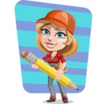 Pretty Mechanic Girl Cartoon Vector Character AKA Carlita - With Big Pencil and Simple Style Background Illustration