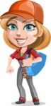 Pretty Mechanic Girl Cartoon Vector Character AKA Carlita - With Big Sack with Tools