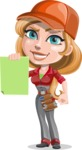 Pretty Mechanic Girl Cartoon Vector Character AKA Carlita - With Blank Paper