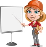 Pretty Mechanic Girl Cartoon Vector Character AKA Carlita - With Blank Presentation Board