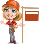Pretty Mechanic Girl Cartoon Vector Character AKA Carlita - With Blank Real Estate Sign