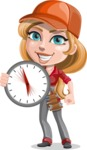 Pretty Mechanic Girl Cartoon Vector Character AKA Carlita - with Fast Service