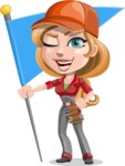 Pretty Mechanic Girl Cartoon Vector Character AKA Carlita - With Flag