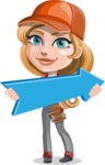 Pretty Mechanic Girl Cartoon Vector Character AKA Carlita - With Forward Arrow