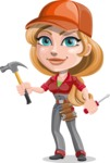 Pretty Mechanic Girl Cartoon Vector Character AKA Carlita - With Hammer and screwdriver
