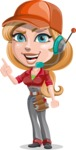 Pretty Mechanic Girl Cartoon Vector Character AKA Carlita - With Headphones