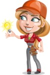 Pretty Mechanic Girl Cartoon Vector Character AKA Carlita - With Light Bulb