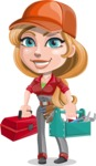 Pretty Mechanic Girl Cartoon Vector Character AKA Carlita - With Mechanic Equipment