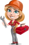 Pretty Mechanic Girl Cartoon Vector Character AKA Carlita - With Mechanic Tools Box and Smiling