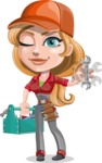 Pretty Mechanic Girl Cartoon Vector Character AKA Carlita - With Mechanic Tools