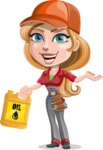 Pretty Mechanic Girl Cartoon Vector Character AKA Carlita - With Oil Tube